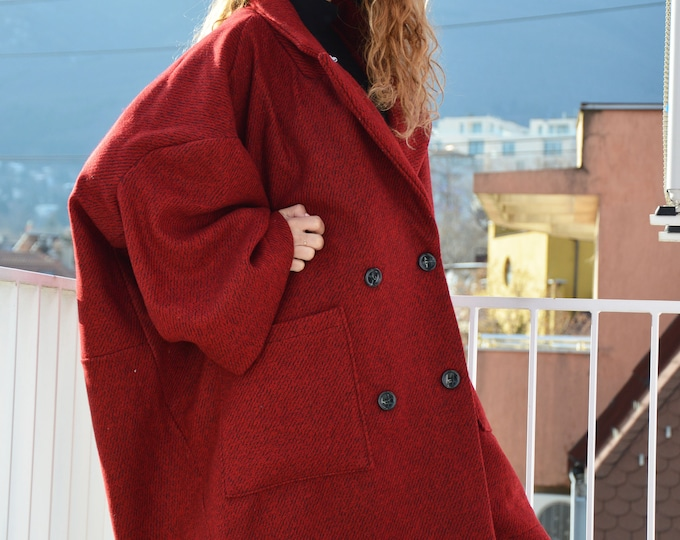 Clothing Coat, Winter Coat, Red Boucle Women Coat, Asymmetrical Wool Coat, Casual Large Pocket Coat, Trendy Coat, Boucle Coat by SSDfashion