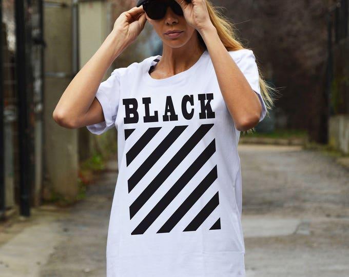 T-Shirt for Women, White Cotton Print T-shirt, Hand Screen Plus Size Top, Sexy Casual T-shirt, Summer Tee by SSDfashion