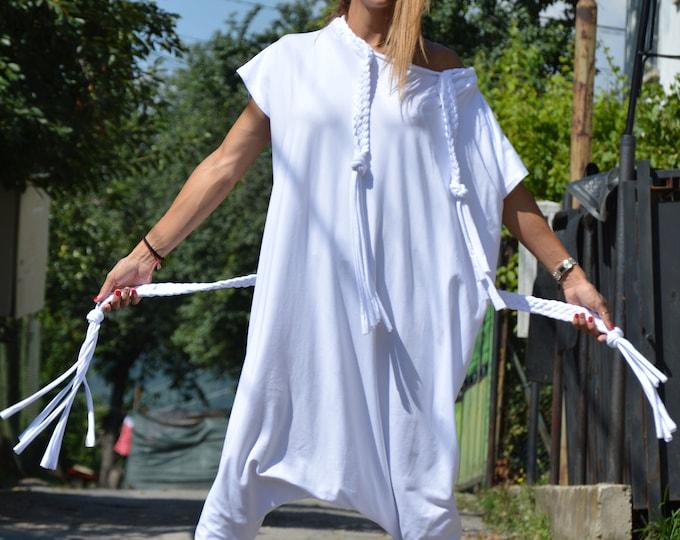 White Cotton Jumpsuit, Women Harem Pants, Summer One piece Romper, Extravagant Jumpsuit, Loose Maxi Suit by SSDfashion