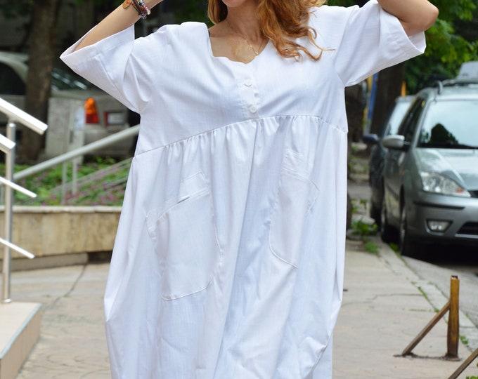 Woman Linen Dress with pockets, White Maxi Dress, Asymmetric Summer Dress, Short Sleeve Kaftan by SSDfashion