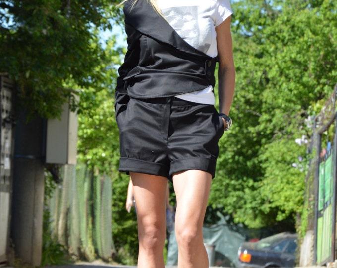 Asymmetrical Black Cotton Set, Oversize Buttoned Jacket, Extravagant Cotton Shorts, Plus Size Clothing by SSDfashion
