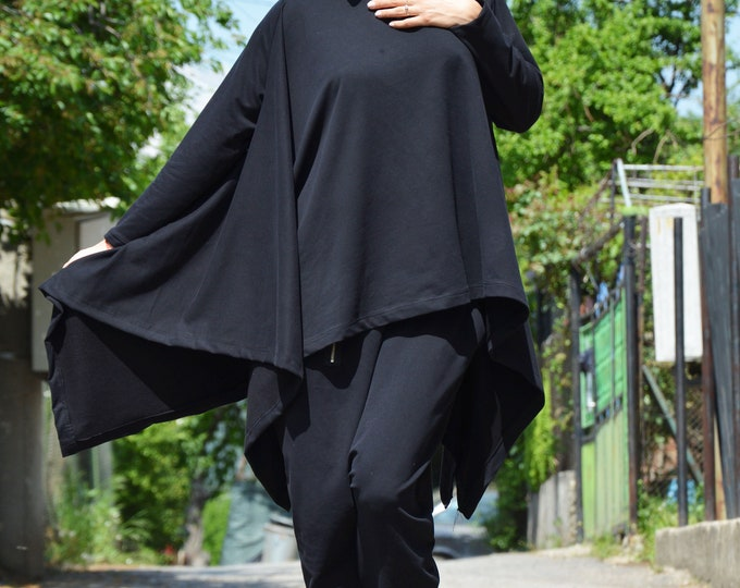 Black Extravagant Handmade Set, Women Elegant Maxi Set, Drop Crotch Pants, Cotton Casual Sweatshirt by SSDfashion