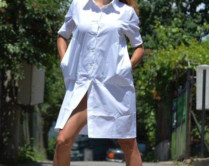 Cotton Shirt, White Long Shirt, Poplin Top, Short Sleeved Shirt, Maxi Top, Elegant Shirt, Medical Shirt,Plus Size Oversize Top by SSDfashion