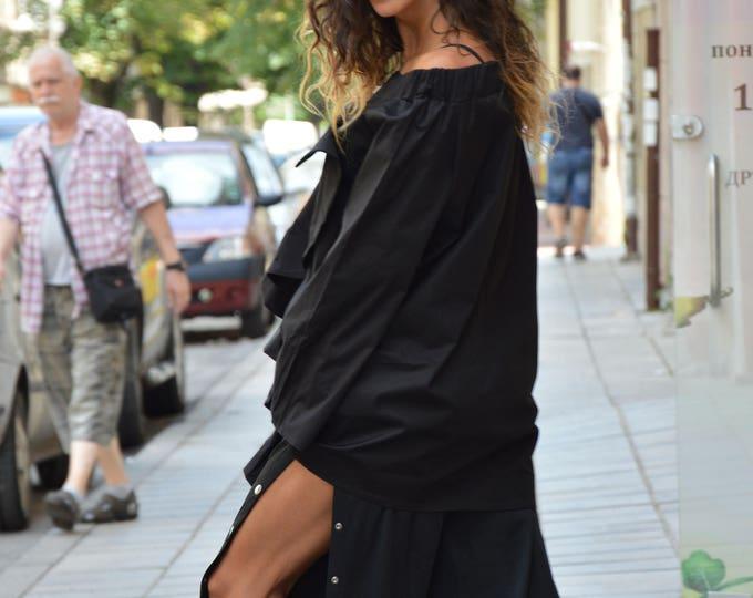 Asymmetric Black Shirt, Extravagant Long Sleeves, Women's Tunic, Elegant Asymmetric Shirt, Office Shirt, Maxi Shirt by SSDfashion