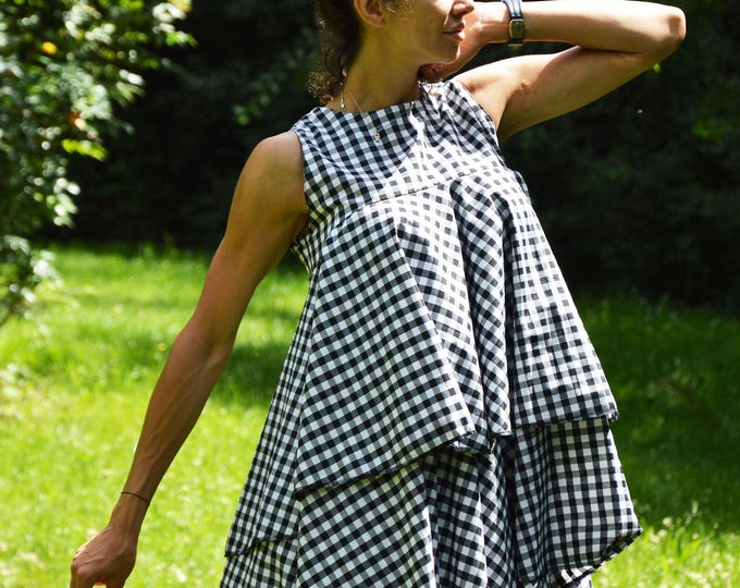 Woman Shepherds Plaid Shirt, Maxi Plus Size Tunic Top, Loose Fit Top, Elegant Shirt, Oversize Summer Shirt by SSDfashion