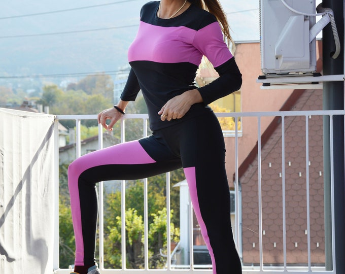 Women Yoga Clothing Extravagant Set of 2 Parts, Sports Wear Leggings Top, Workout Tight-fitting Outfit by SSDfashion