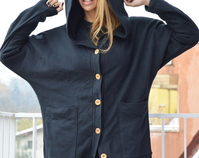 Black Hooded Cardigan, Cotton Sleeves Buttoned Blazer, Autumn Jacket with Hoodie, Extravagant Coat, Maxi Top by SSDfashion