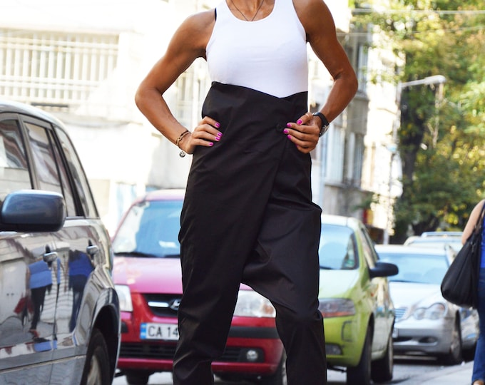 Black High Waist Pants, Cotton Harem Pants for Womens, Women Drop Crotch Black Pants, Casual Loose Pants by SSDfashion