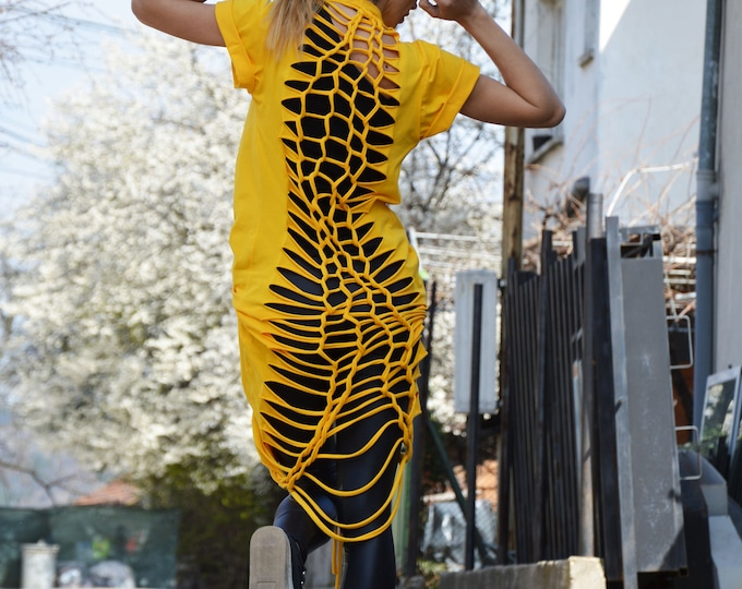 Asymmetric Yellow Summer Dress, Loose Elegant Tunic, Open Back Day Dress, Extravagant Long Kaftan by SSDfashion