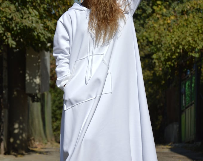 Hooded Winter Cotton Dress, Autumn Winter Long Dress, White Dress with Hoodie, Outside Pockets Extravagant Dress by SSDfashion