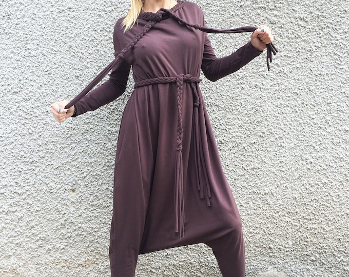Extravagant Loose Women's Jumpsuit, Casual Chocolate Brown Jumpsuit, Cotton Plus Size Clothing by SSDfashion