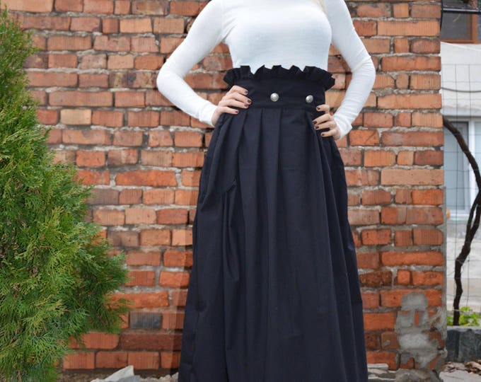 Black High Waist Skirt, Maxi Cotton Skirt, Loose Skirt, Long Skirt, Skirt for Girls, Extravagant Oversize Skirt by SSDfashion