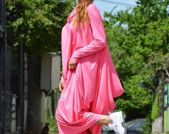 Pink Maxi Dress, Turtleneck Long Dress, Asymmetric Sleeve Dress, Everyday Kaftan, Plus Size Maxi Dress by SSDfashion