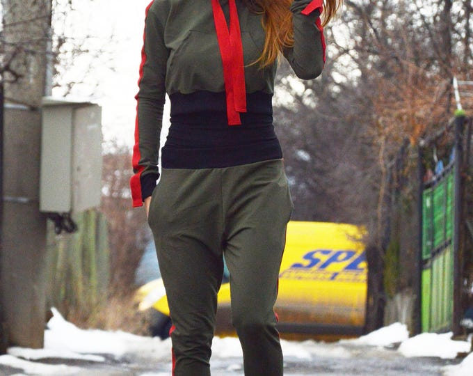 Extravagant Military Hooded Set, Maxi Casual Set, Wide Leg Pants, Hooded Long Sleeve Top by SSDfashion