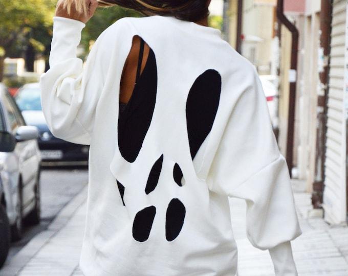 White Sweatshirt, Extravagant Long Blouse, Asymmetric Top, Wadding Maxi Sweatshirt, Extravagant Sports Blouse, Maxi Top by SSDfashion