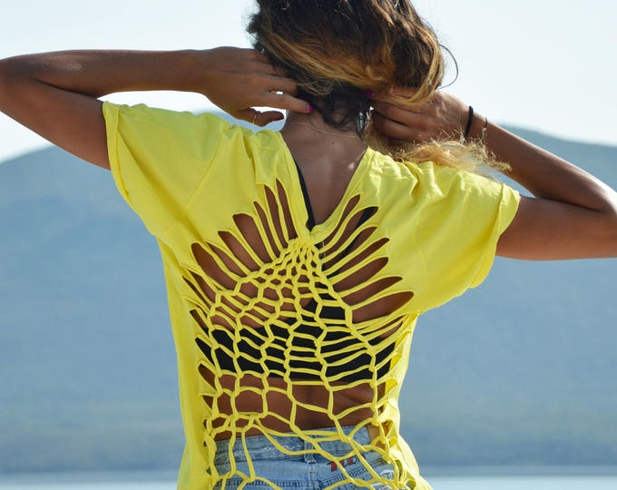Handmade Yellow Top, Summer Clothing, Womens Shirt, Extravagant Loose Top, Cotton Open Back Blouse, Maxi Elegant Top by SSDfashion