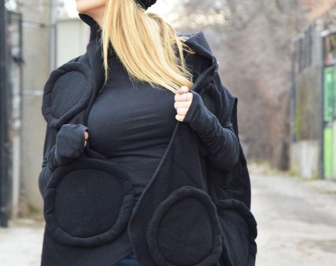 Women's Black Vest, Cashmere Coat, Asymmetric Vest, Woman Trench, Wool Warm Vest, Sleeveless Vest, Woman Vest by SSDfashion