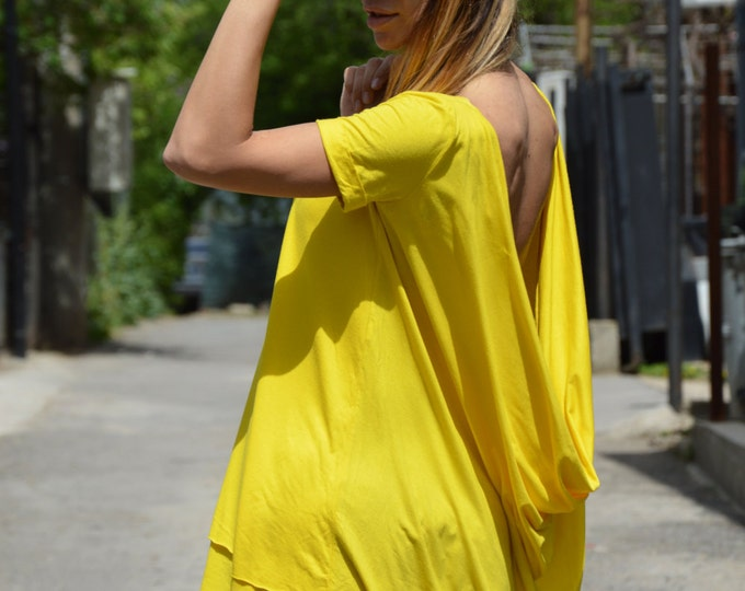 Maxi Yellow Top, Casual Tunic, Oversize Tunic Top, Backless Blouse, Cotton Long Top, Plus Size Dress, Sexy Shirt by SSDfashion