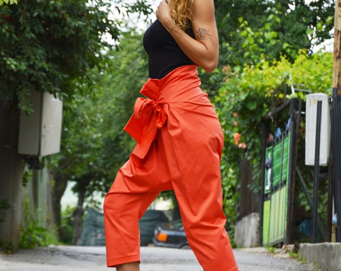 Women Orange Trousers, Cotton Maxi Pants, Women Pants, Summer Pants, High Waist Pants by SSDfashion