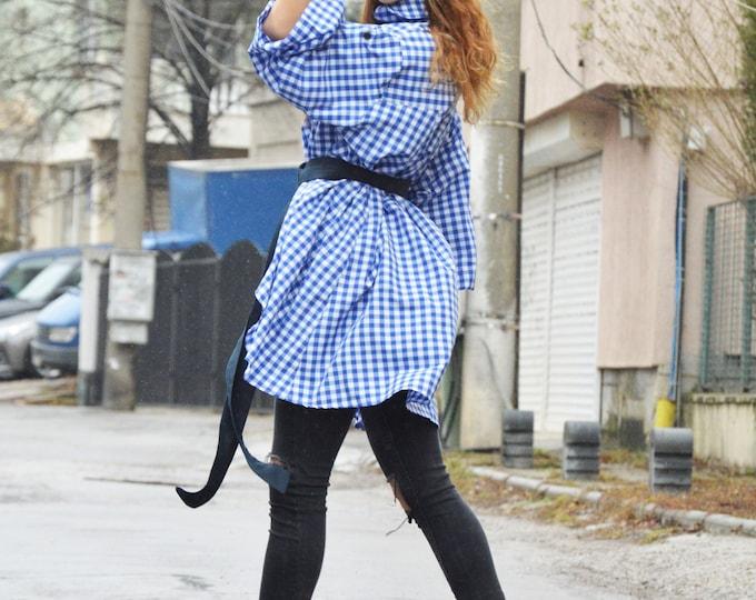 Oversize Blue Shepherd's Plaid Shirt, Cotton Long Top, Maxi Shirt, Plus Size Shirt, Asymmetric Buttoned Shirt by SSDfashion