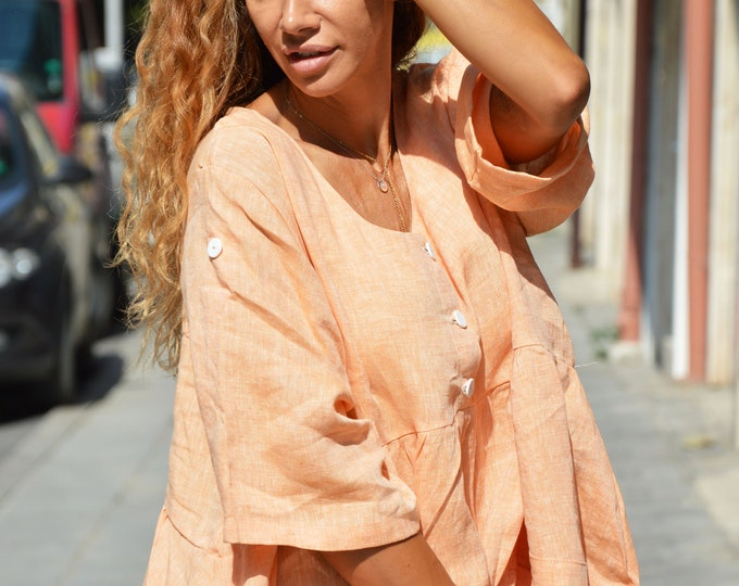 Fall Casual Linen Dress, Women Loose Kaftan, Folded Sleeve Orange Dress, Sexy Short Sleeves Top, Maxi Dress by SSDfashion
