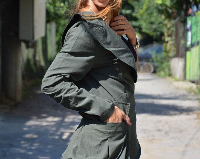 Women Military Set, Elegant Buttoned Blazer, Extravagant Shorts, Drop Crotch Harem Pants, Elegant Casual Set by SSDfashion