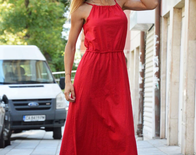 Red Linen Maxi Dress, Plus Size Dress, Extravagant Long Daywear Dress, Elegant Maxi Dress by SSDfashion