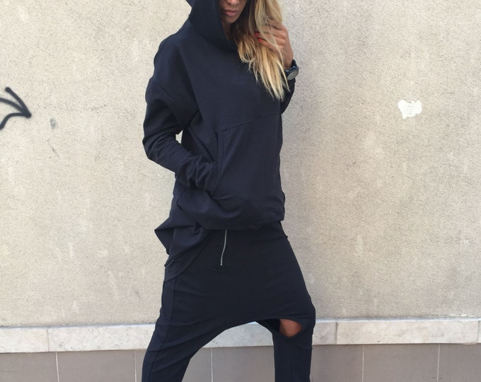 Maxi Black Hooded Sweatshirt, Cotton Warm Woman Top, Maxi Front Pocket Hoodie, Extravagant Tunic, Sport Tunic by SSDfashion