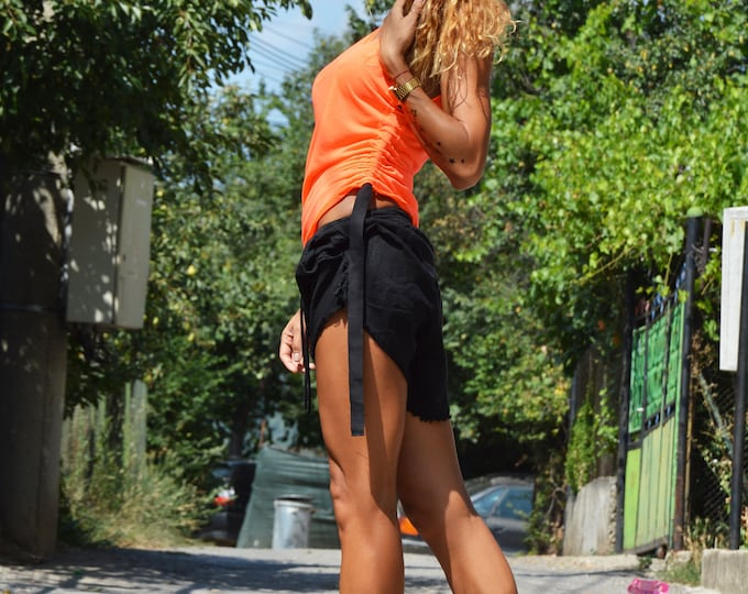 Tank Top, Orange Extravagant Top, Soft Casual Oversize Top, Cocktail Top, Cool Top, Cut Out Top, Fitted Top by SSDfashion