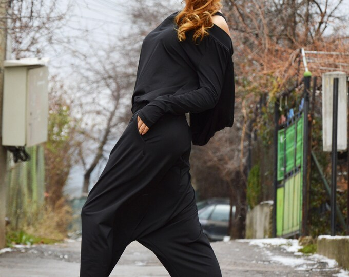 Maxi Hooded Jumpsuit, Cotton Jumpsuit, Extravagant Drop Crotch, Fashion Jumpsuit, Extra Long Sleeves, Black Overall by SSDfashion