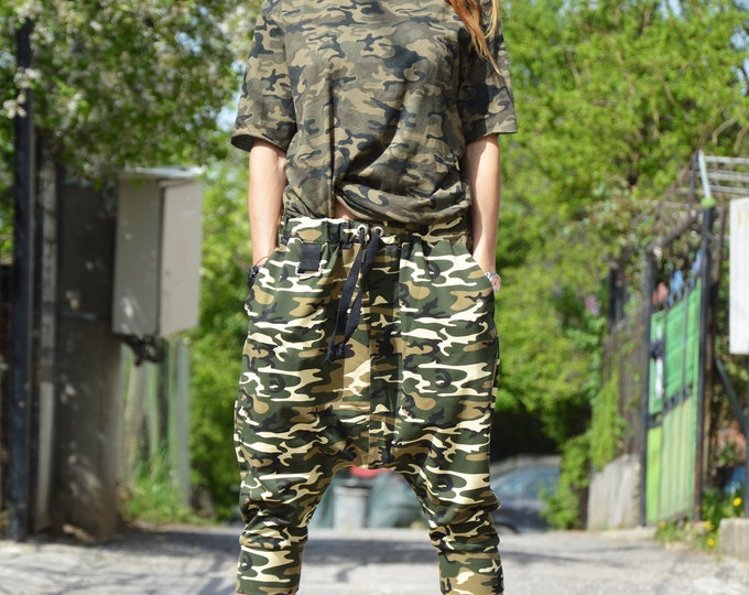 Maxi Military Cotton Wide Side Pockets Pants, Casual Pants Elastic Band, Extravagant Low Bottom Pants, Sports Pants by SSDfashion