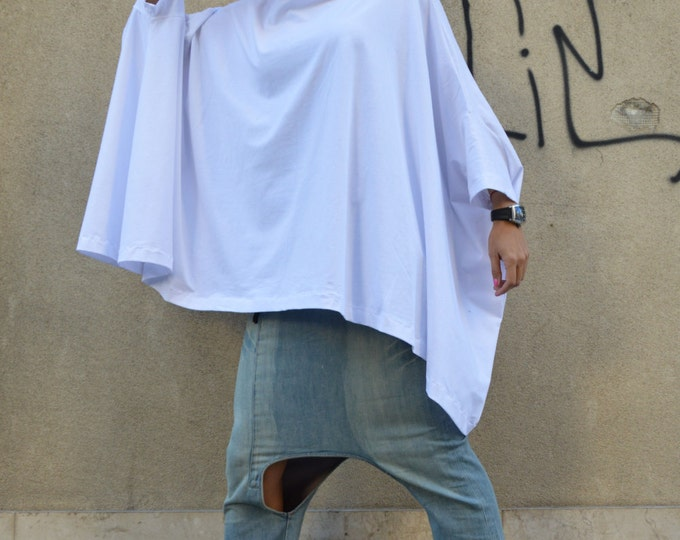 White Cotton Tunic Top for Women, Plus Size Tops, Casual Top, Maxi Both Short And Long Sleeves, Asymmetric Tunic by SSDfashion
