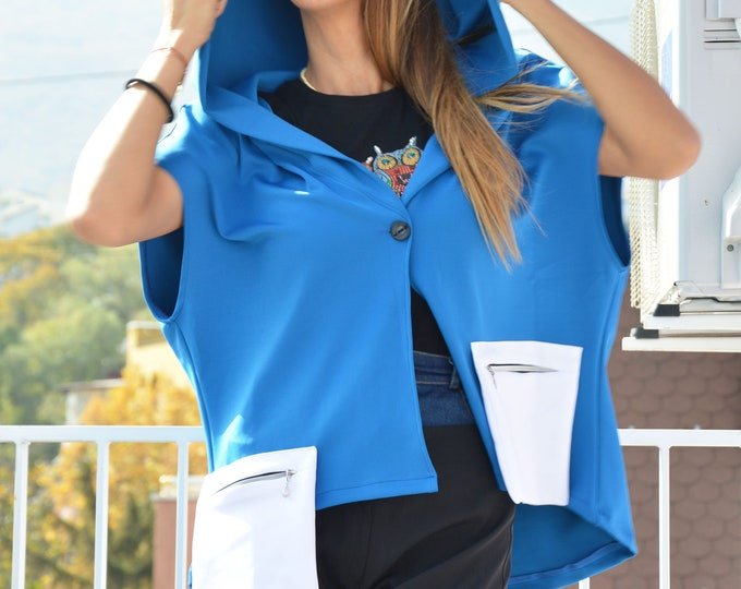 Blue Neoprene Women Sweater, Autumn Hooded Asymmetric Jacket, Extravagant Buttoned Blouse, Plus Size Sweatshirt by SSDfashion