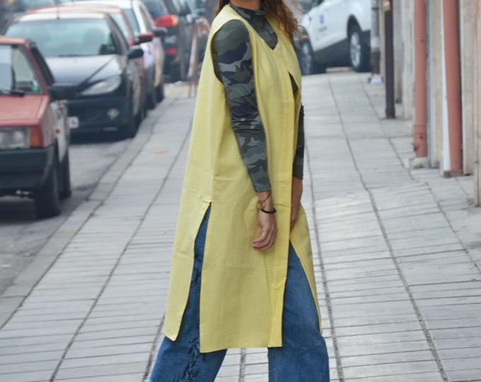 Extravagant Vest, Maxi Vest, Women's Linen Vest, Elegant Vest, Asymmetric Vest, Fashion Vest, Asymmetric Vest by SSDfashion