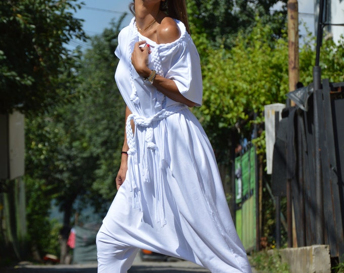 White Loose Jumpsuit, Women Harem Pants, Casual Cotton Suit, Extravagant Jumpsuit, Summer Onepiece Romper by SSDfashion
