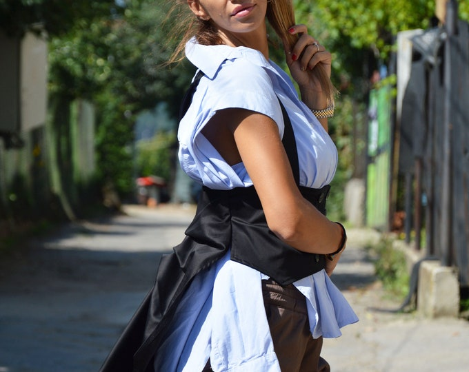 Cotton Vest, Women Stripes Belt Vest, Black Vest, Oversized Vest,Asymmetrical Elegant Vest,Handmade Top,Casual Waistcoat by SSDfashion