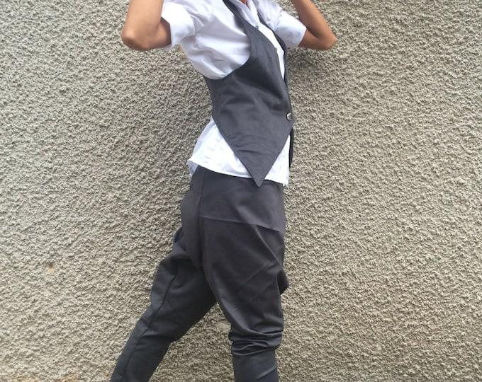 Oversize Grey  Set, Loose Elegant Set, Cotton Vest, High Waist Harem Pants, Casual Pants, Fashion Vest by SSDfashion