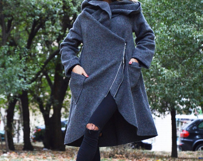 Warm Winter Dark Grey Coat, Asymmetric Extravagant Coat, Trench coat, Womens Coat With Pockets, Loose Maxi Top by SSDfashion