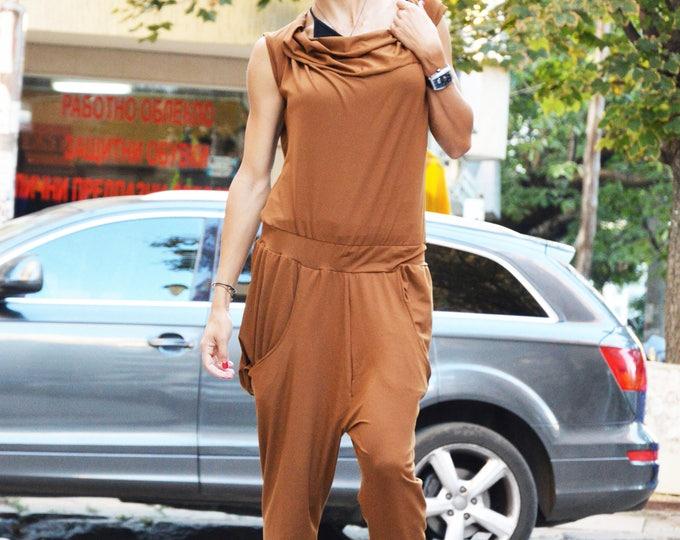 Women's Brown Jumpsuit, Urban Casual Jumpsuit, Cotton Union Suit, Harem Jumpsuit, Loose Drop Crotch Jumpsuit by SSDfashion