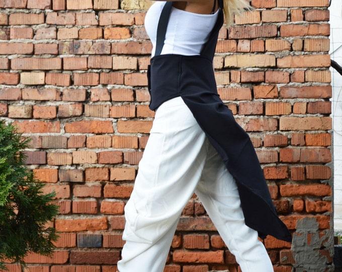 Women Black Vest, Extravagant Vest, Amazing Trench Coat, Maxi Top, Asymmetrical Unique Casual Vest, Stripes Vest by SSDfashion