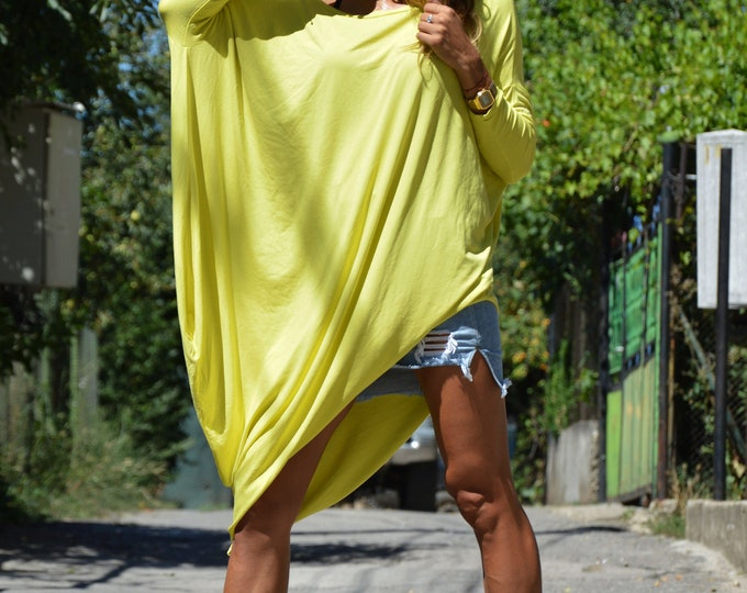 Plus Size Yellow Tunic, Asymmetric Tunic Top, Maxi Dress, Comfortable Casual Dress, Loose Dress, Maxi Dress by SSDfashion