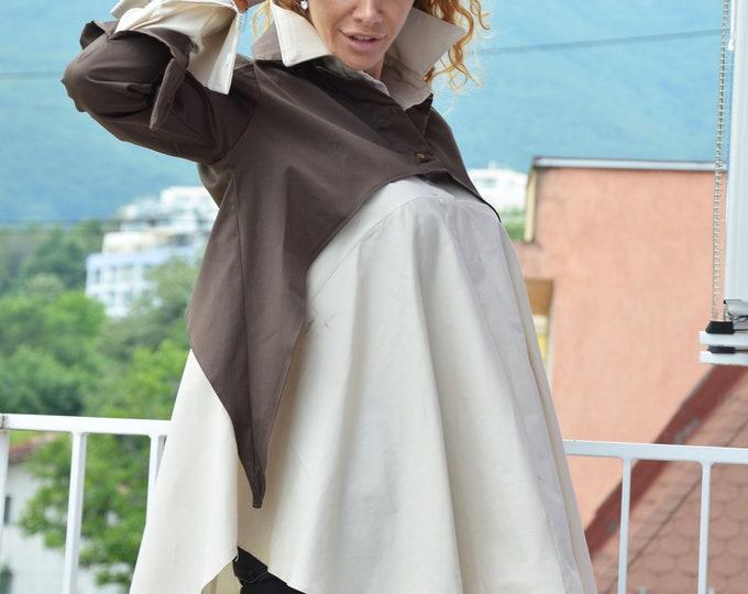 Maxi Loose Shirt, Soft Cotton two Shirt, Brown Plus Size Top, Casual Beige Shirt, Office Shirt, Everyday Shirt, Summer Shirt by SSDfashion