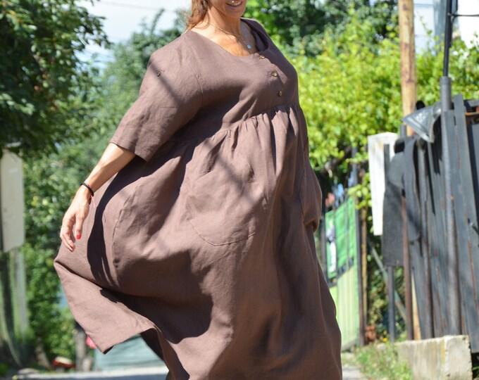 Extravagant Linen Dress, Loose Brown Dress, Women Casual Dress, Maxi Long Dress, Plus Size Dress by SSDfashion