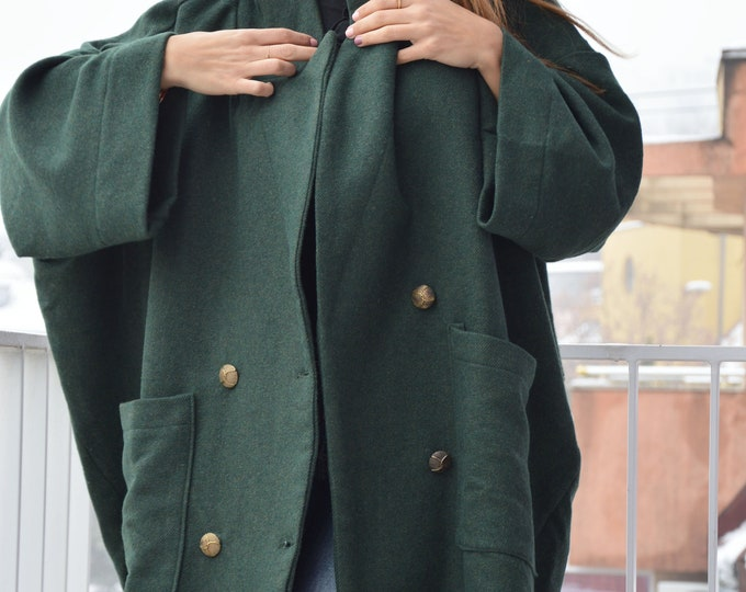 Asymmetrical Dark Green Coat, Winter Coat, Wool Large Pockets Coat, Oversize Coat, Women Coat, Wide Coat, Maxi Fashion Coat by SSDfashion