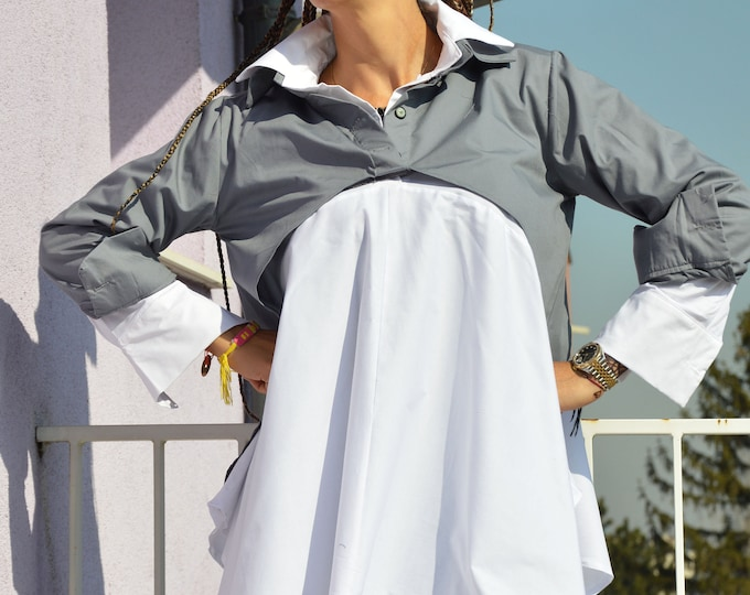 Oversized Long Shirts, Extravagant Soft Cotton dress, Summer Maxi Shirt, Double Shirt for woman by SSDfashion