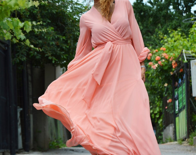 Summer Peach Dress, Long Dress, Maxi Chiffon Dress, Beach Dress, Wedding Dress, Elegant Dress, Evening Dress by SSDfashion