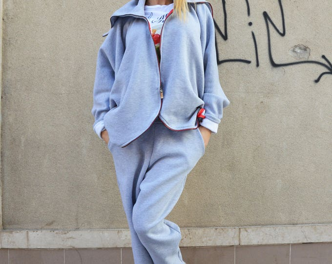 Warm Extravagant Grey Set, Cotton Women Drop Crotch Pants, Plus Size Zipper Sweatshirt, Casual Set by SSDfashion