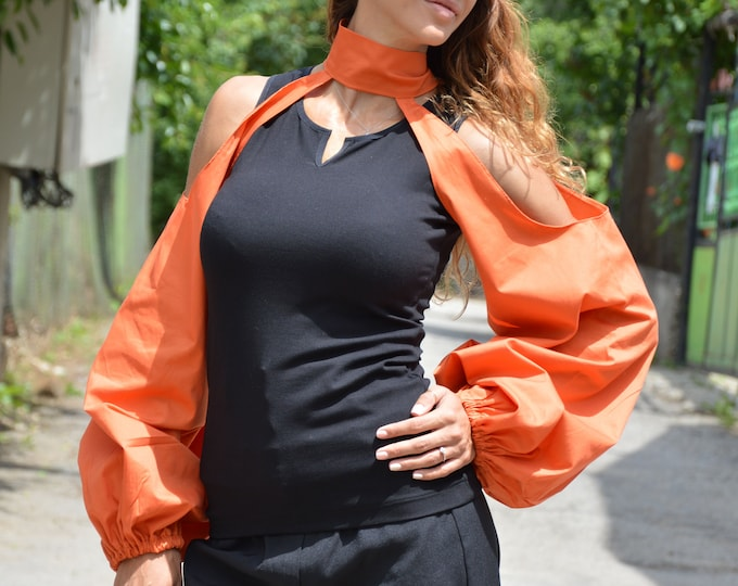 Women's Blouse, Black Sleeveless Top, Maxi Orange Shirt, Formal Shirt, Tank Top, Party Shirt, Black Shirt, Sleeveless Top by SSDfashion