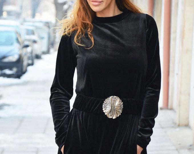 Women Velvet Dress with Belt, Maxi Black Long Dress, Plus Size Dress, Asymmetric Dress, Extravagant Elegant Dress by SSDfashion