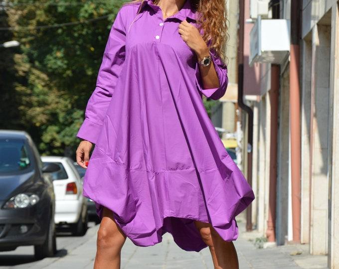 Women Purple Long Shirt, Buttoned Loose Drape Shirt, Fall Maxi Shirt, Asymmetric Long Sleeve Top  by SSDfashion